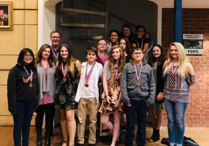 Photo depicting Mr. Brown and Middle School 2018-19 One Act Play Cast