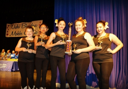 Photo depicting OC Middle School Majorettes with first place trophy at competition