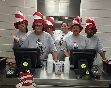 Photo depicting Elementary Cafeteria Staff celebrates Dr. Seuss Week