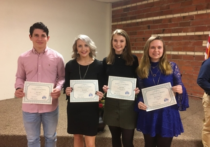 Photo depicting Elks Lodge Students of the Month are Jose Lopez, Ally Sewell, Landri Ross and Becky Wisdom