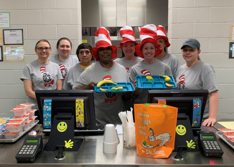 Photo depicting Elementary Cafeteria Staff Enjoy Dr. Seuss Week