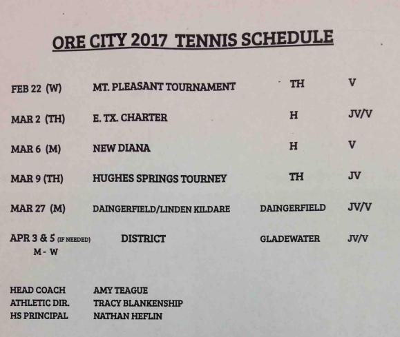 Ore City 2017 Tennis Schedule