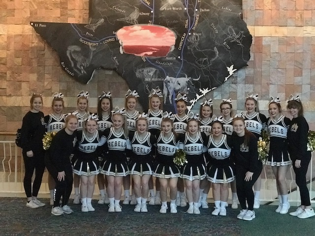 Photo depicting OCHS Cheerleaders in Fort Worth for UIL Competition